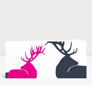 Weihnachtskarte Edle Hirsche Magenta