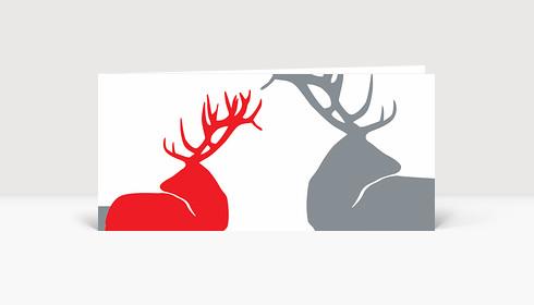 Weihnachtskarte Edle Hirsche Rot auf Weiß