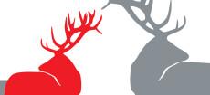 Weihnachtskarte Edle Hirsche Rot