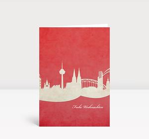 Weihnachtskarte Köln rot