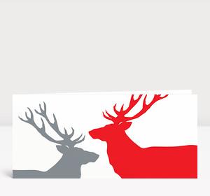 Weihnachtskarte Zwei Hirsche in Rot und Hellgrau