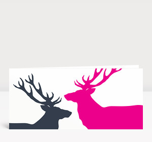 Weihnachtskarte Zwei Hirsche in Magenta und Dunkelgrau
