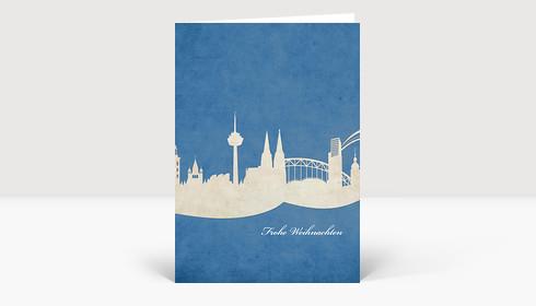 Weihnachtskarte Köln Skyline auf dunkel blau