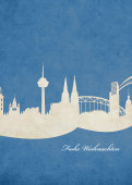 Weihnachtskarte Köln blau