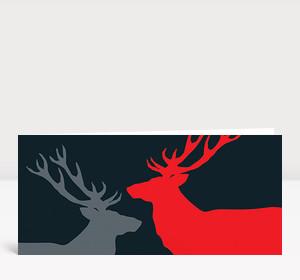 Weihnachtskarte Zwei Hirsche in Rot und Grau auf dunkelgrau