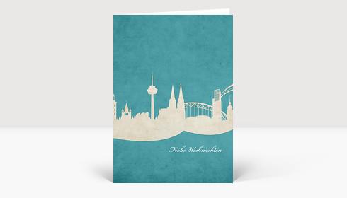 Weihnachtskarte Köln Skyline türkis