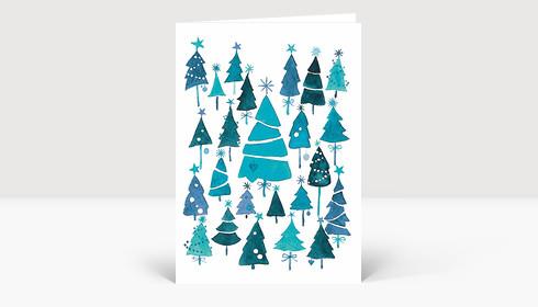 Weihnachtskarte Weihnachtswald Blau