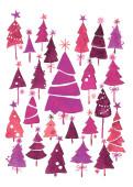 Weihnachtskarte Weihnachtswald Violett