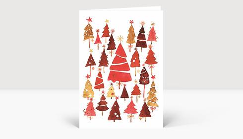 weihnachtskarte weihnachtswald rot. Black Bedroom Furniture Sets. Home Design Ideas