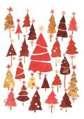 Weihnachtskarte Weihnachtswald Rot
