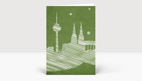 Weihnachtskarte Kölner Dom Zeichnung grün