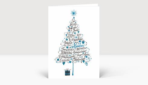 Weihnachtskarte Frohe Weihnachten aus München Blau
