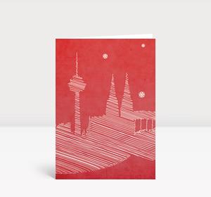 Weihnachtskarte Kölner Dom Zeichnung