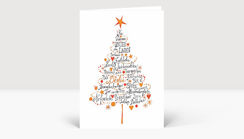 Frohe Weihnachten Berlin.Weihnachtskarte Frohe Weihnachten Aus Berlin Orange