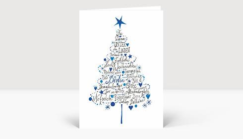 Weihnachtskarte Frohe Weihnachten aus Berlin Blau