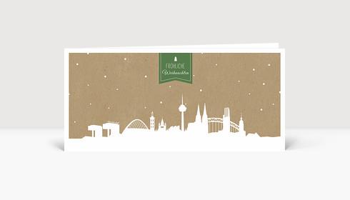 Weihnachtskarte Köln auf Karton grün