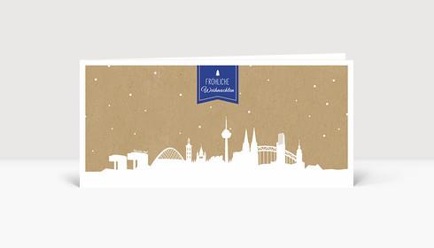Weihnachtskarte Köln auf Karton blau