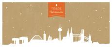 Weihnachtskarte Köln auf Karton orange