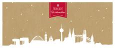 Weihnachtskarte Köln auf Karton rot