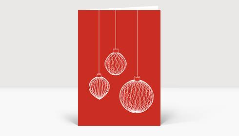 weihnachtskarte 3d weihnachtskugeln auf rot. Black Bedroom Furniture Sets. Home Design Ideas