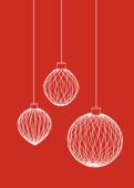 Weihnachtskarte 3D Weihnachtskugeln auf rot