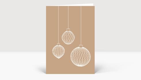 Weihnachtskarte 3D Weihnachtskugeln auf beige