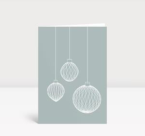 Weihnachtskarte 3D Weihnachtskugeln auf graublau