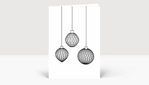 Weihnachtskarte 3D Weihnachtskugeln schwarz-weiß