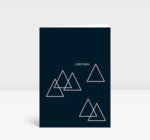 Weihnachtskarte Tannebäume puristisch modern auf Dunkelblau