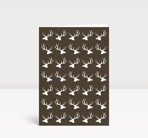 Weihnachtskarte Hirsche, Hirsche, Hirsche Dunkelbraun