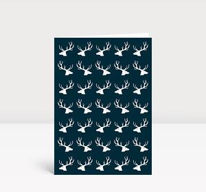 Weihnachtskarte Hirsche, Hirsche, Hirsche Dunkelblau