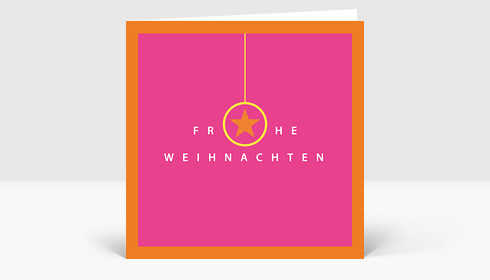 Weihnachtskarte Frohe Weihnachten pink-orange