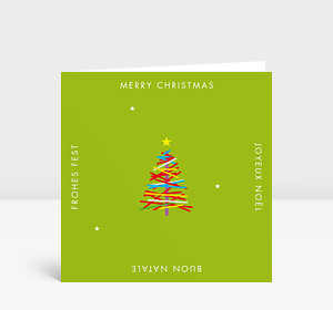 Weihnachtskarte Bunter Weihnachtsbaum international auf Grün