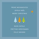 Weihnachtskarte Drei bunte Weihnachtsbäume auf blau international