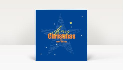 Weihnachtskarte weihnachtsstern englisch auf blau dk2024 - Weihnachtskarte englisch ...
