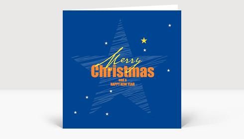 Weihnachtskarte Weihnachtsstern englisch auf Blau