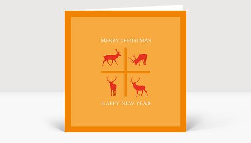 Weihnachtskarte Vier Rehe auf Orange