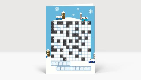 Weihnachtskarte Kreuzworträtsel weihnachtliche Landschaft blau