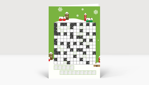 Weihnachtskarte Kreuzworträtsel weihnachtliche Landschaft grün