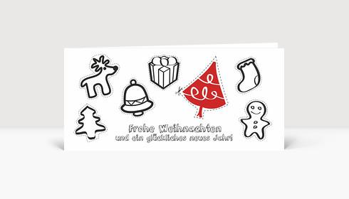 Weihnachtskarte Aktionskarte: Weihnachtsbaumschmuck zum selber basteln DIN Lang