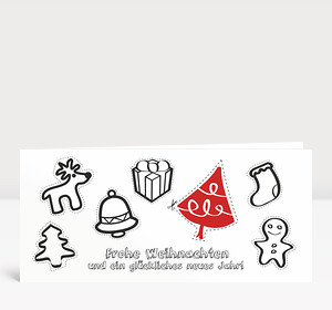Weihnachtskarte Aktionskarte Baumschmuck DIN Lang