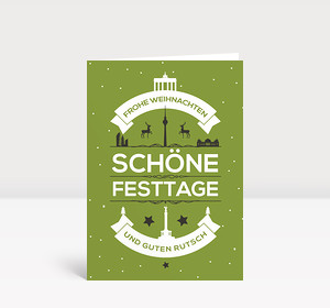 Weihnachtskarte Berlin Vintage auf Grün