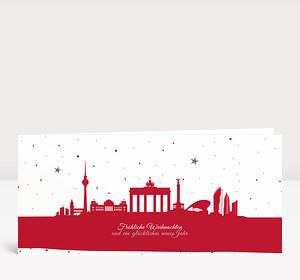 Weihnachtskarte Berliner Sternenhimmel Rot