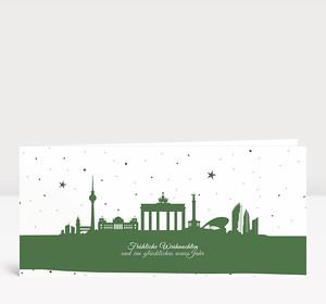 Weihnachtskarte Berliner Sternenhimmel Grün