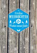 Weihnachtskarte Holz Schneeflocken moderne Grüße blau