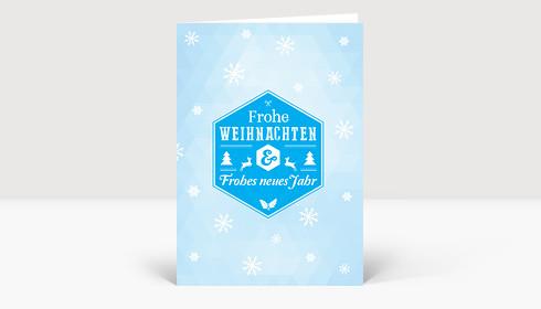 Weihnachtskarte Schneesterne moderne Grüße blau