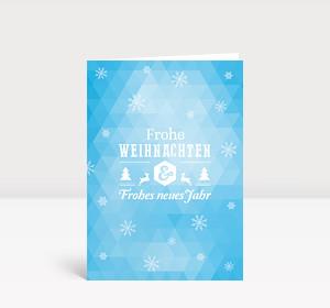 Weihnachtskarte Dreiecke Schneeflocken moderne Grüße blau