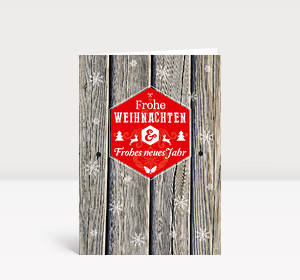 Weihnachtskarte Holz Schneeflocken moderne Grüße rot