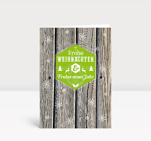 Weihnachtskarte Holz Schneeflocken moderne Grüße grün
