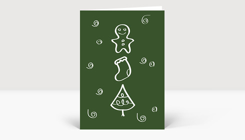 Weihnachtskarte Zeichnung Plätzchen, Socken und Tannenbaum